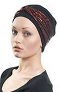 Picture of Hair World Anna Hat with red circles & swirls wrap